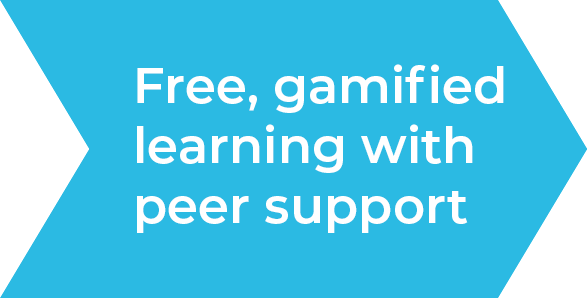 Free, gamified learning with peer support
